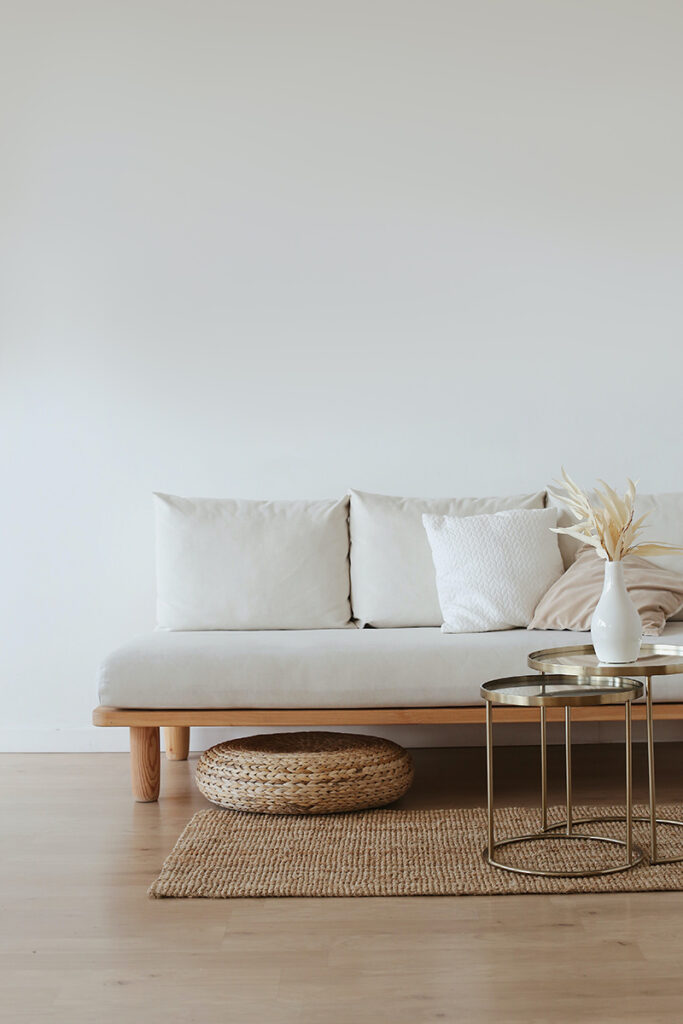 comfortable and inviting white sofa
